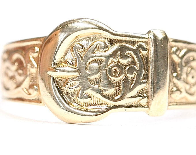 Superb vintage Men's 9ct yellow gold Buckle ring - fully hallmarked - size W or US 11
