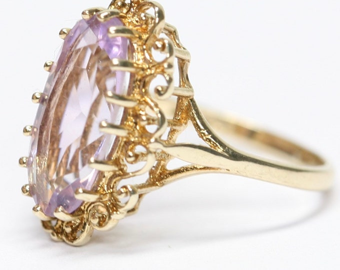 Stunning vintage 9ct yellow gold Amethyst ring - Birmingham 1993 - size L or US 5 1/2