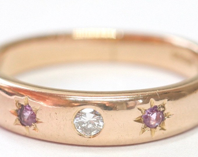 Stunning vintage 18ct rose gold Diamond and pink Sapphire ring / wedding band - fully hallmarked - size O or US 7