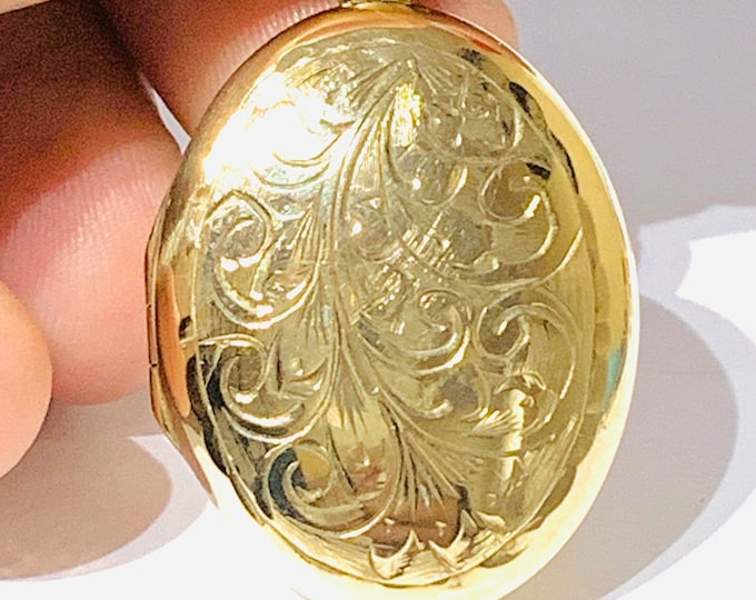 Superb heavy vintage 9ct yellow gold double picture locket - Sheffield 1994 - 10.7gms