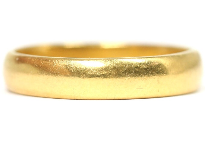 Superb antique Edwardian 22ct gold wedding ring - hallmarked Birmingham 1908 - size P 1/2 or US 7 3/4 - 5.5gms