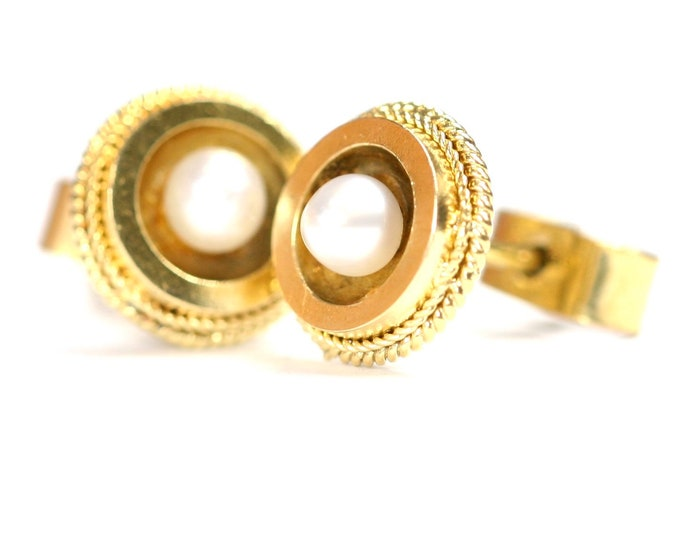 Antique 9ct yellow gold natural Pearl stud earrings