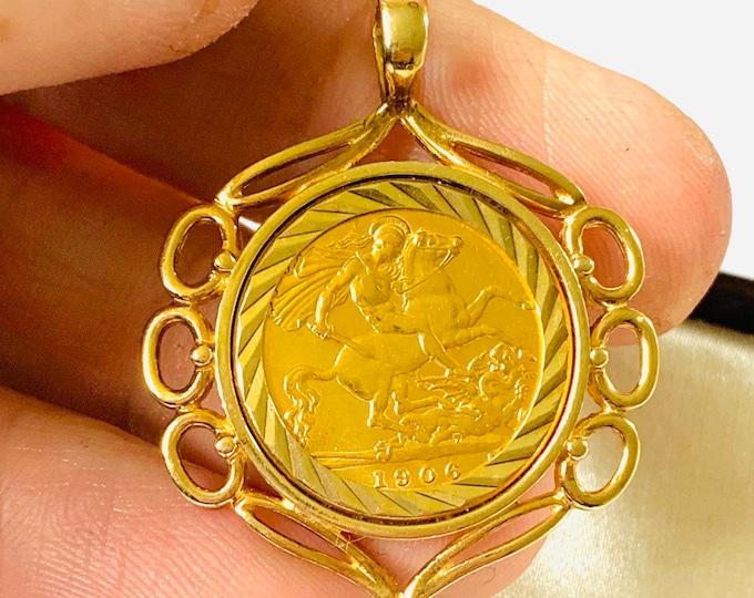 Superb antique 22ct gold half Sovereign pendant - Edward VII dated 1906