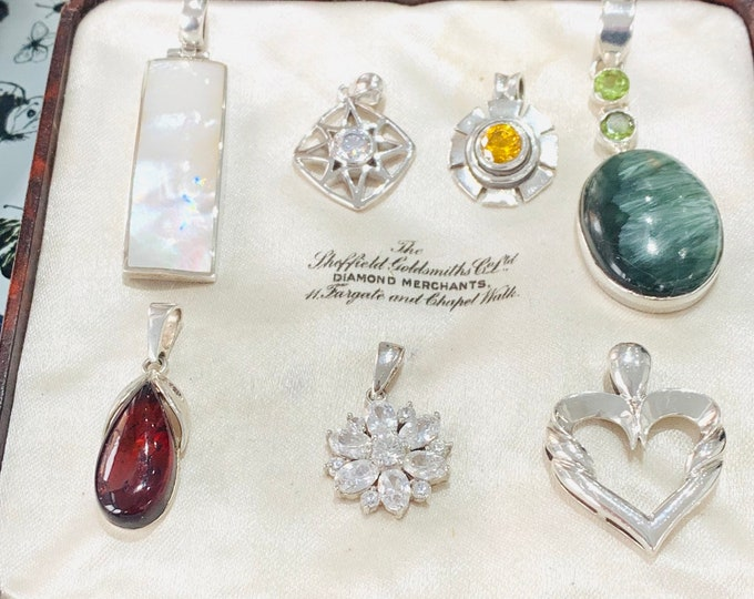 Stunning job lot of vintage Sterling Silver pendants - all stamped or hallmarked