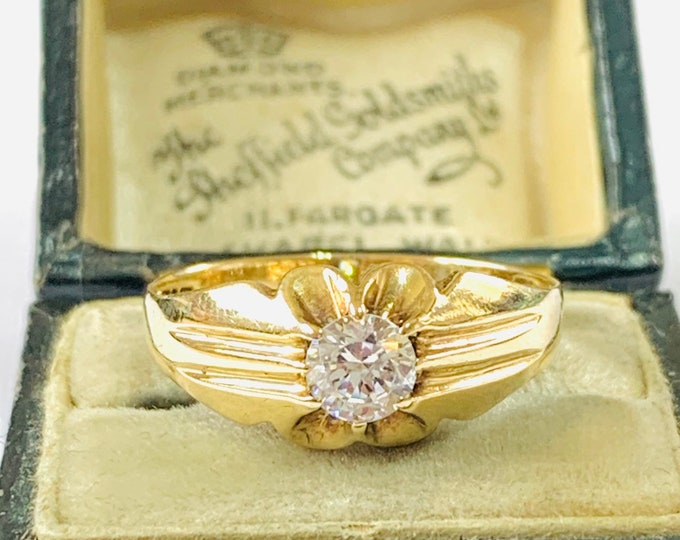 Vintage 9ct gold Gypsy ring with Cubic Zirconia - hallmarked London 1984 - size T - 9 1/2