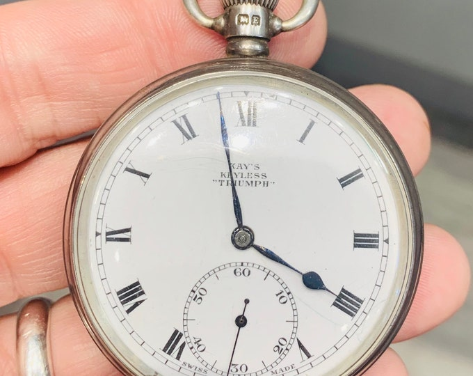 Antique sterling silver Kay' Keyless 'Triumph' pocket watch - hallmarked Birmingham 1930 - GWO