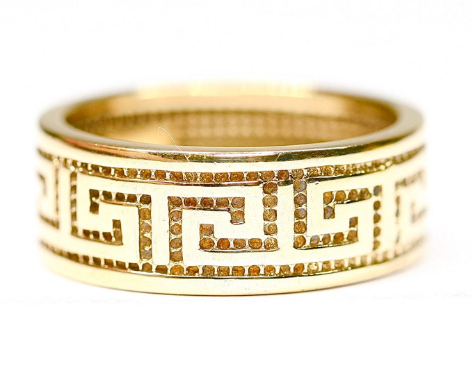 Stunning vintage 9ct yellow gold Greek Key ring / pinky ring - fully hallmarked  - Size O or US 7