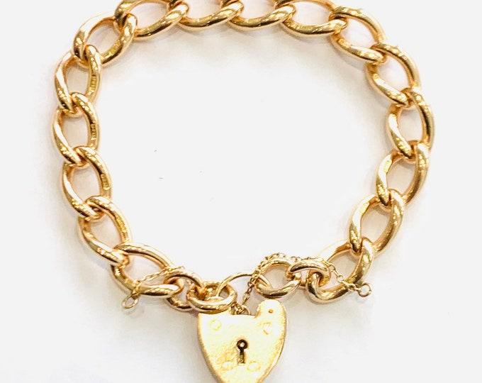Superb heavy vintage 9ct rose gold 7 1/2 inch padlock bracelet - fully hallmarked - 40gms