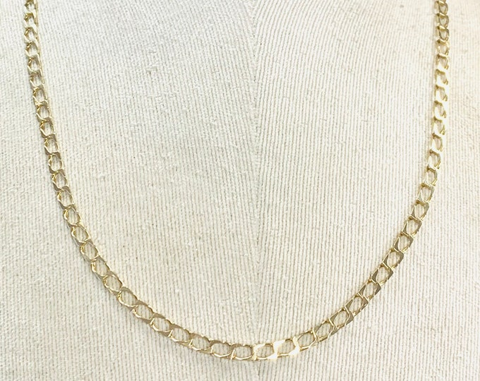 Vintage 9ct yellow gold 21 inch curb link chain - fully hallmarked - 10.5gms
