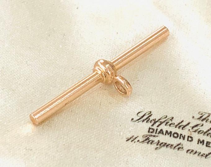 Antique 9ct rose gold t-bar pendant - 35mm
