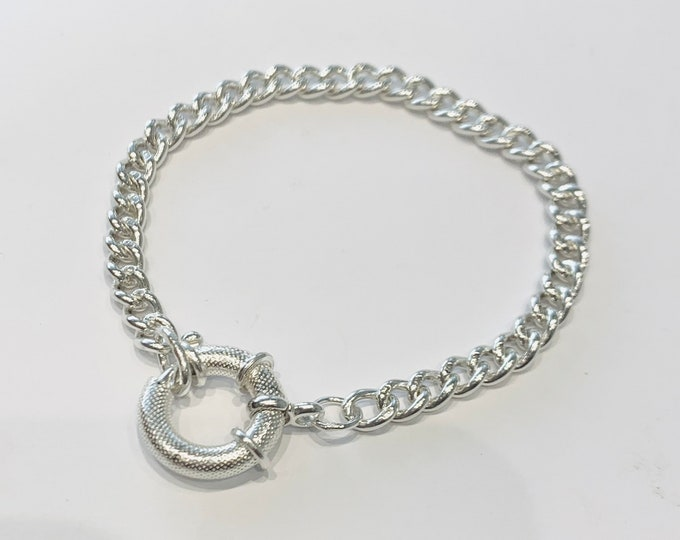 Antique sterling silver Albert chain bracelet with an oversized bolt ring fastener- 7 3/4 inches in length