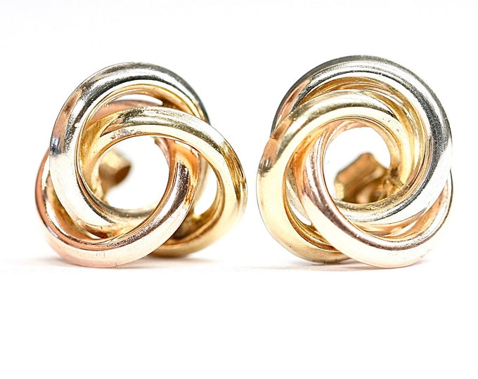 Stunning vintage 9ct tricolour gold stud earrings