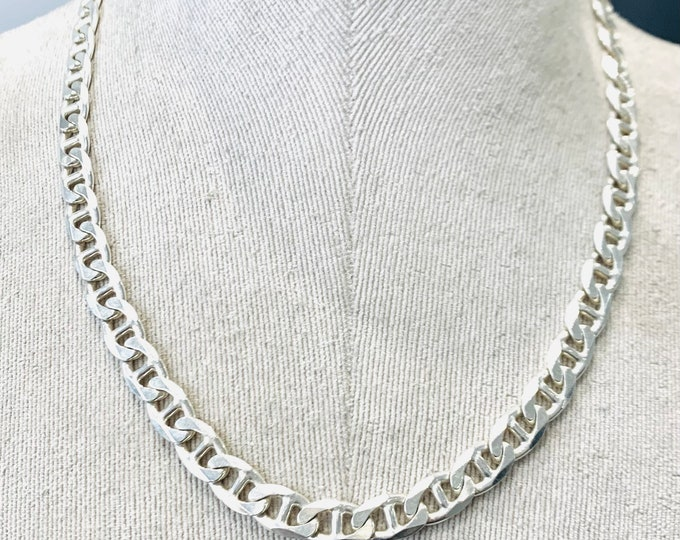 Superb vintage sterling silver 20 inch Anchor link chain - fully hallmarked - 53gms