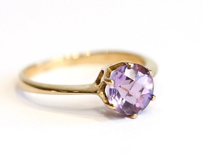 Superb vintage 9ct yellow gold Amethyst ring - fully hallmarked - size N or US 6 1/2