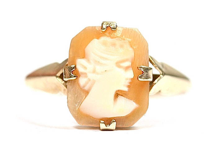 Vintage 9ct gold Cameo ring - hallmarked Birmingham 1974 - size L or US 5.5