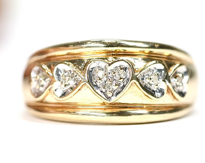 Superb vintage 9ct yellow gold Diamond ring - hallmarked London 1997 - size P or US 7.5