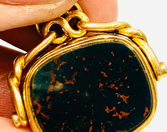 Victorian 18ct yellow gold Bloodstone and Carnelian spinning fob pendant - Birmingham 1898