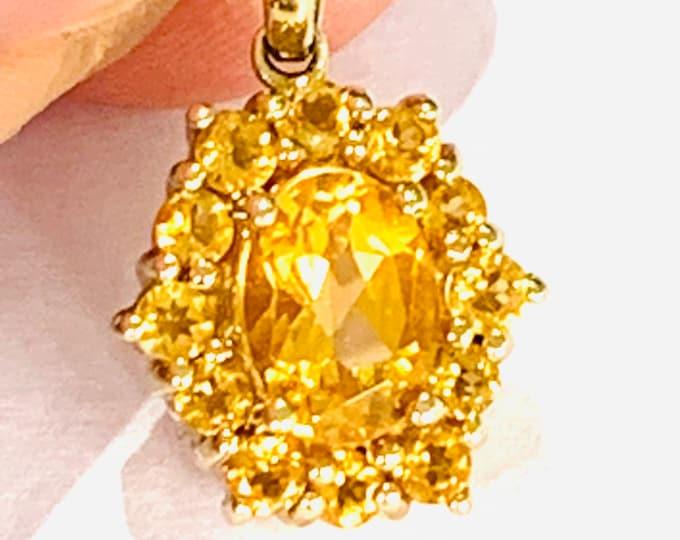 Stunning vintage 9ct gold Citrine pendant - fully hallmarked