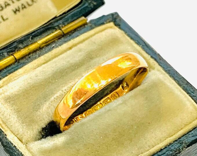 Antique 22ct gold wedding ring - hallmarked Birmingham 1926 - size M - 6
