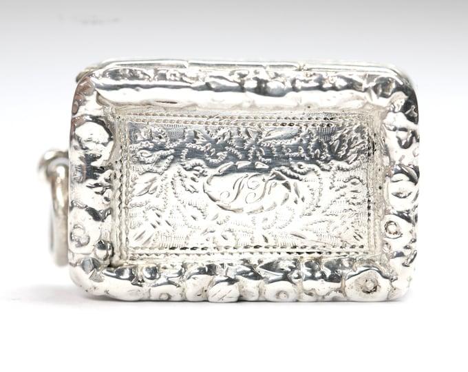 Superb 186 year old William IV antique silver Vinaigrette - hallmarked Birmingham 1834 - made by Thomas Shaw