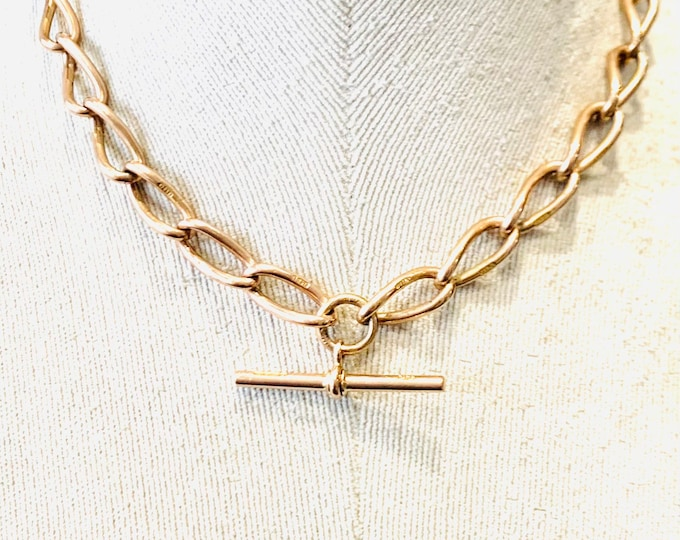 Superb antique 9ct rose gold 15 1/2 Albert chain necklace with t-bar - Birmingham 1919 - 49gms