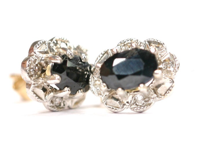 Vintage 9ct gold Sapphire and Diamond stud earrings - fully hallmarked