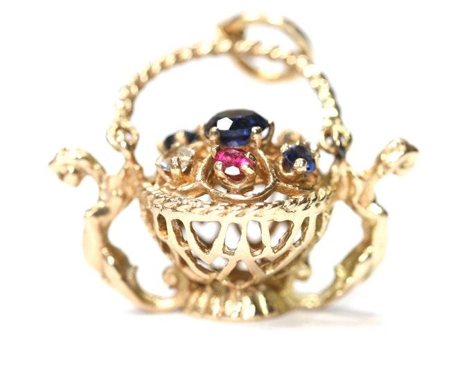 Vintage 9ct gold Flower Basket charm - hallmarked London 1958