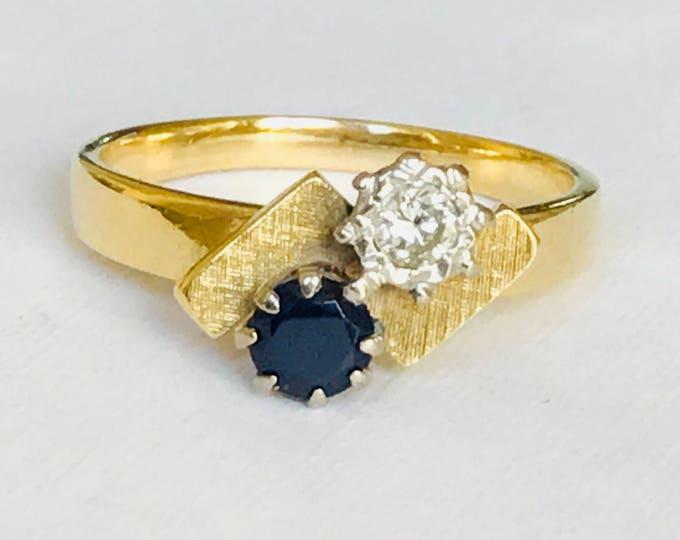 Fabulous vintage 18ct gold diamond & sapphire dress ring - London 1971