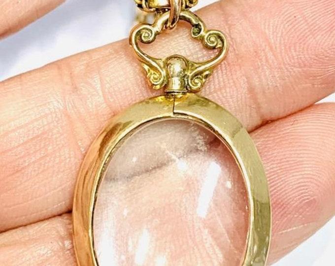 Superb antique 9ct gold glass locket - hallmarked Chester 1915