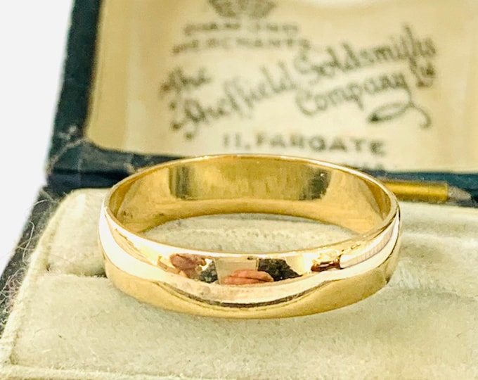 Vintage 9ct yellow gold wedding ring - fully hallmarked - size N - 6.5