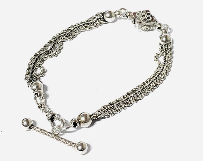 Fabulous antique Victorian sterling silver 8 inch Albertina bracelet with t-bar