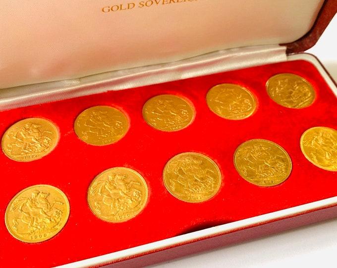 Superb cased set of 10 antique 22ct full Sovereigns. Victoria, Edward VII and George V