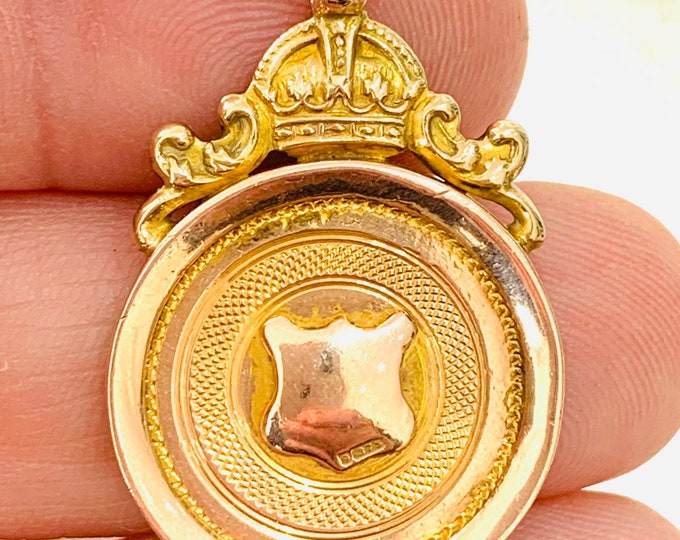 Superb heavy antique 9ct rose gold Albert chain fob / pendant - Chester 1925