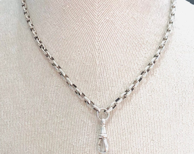 Superb antique Sterling Silver 16 inch (part) muff chain and dog clip - hallmarked Birmingham 1914