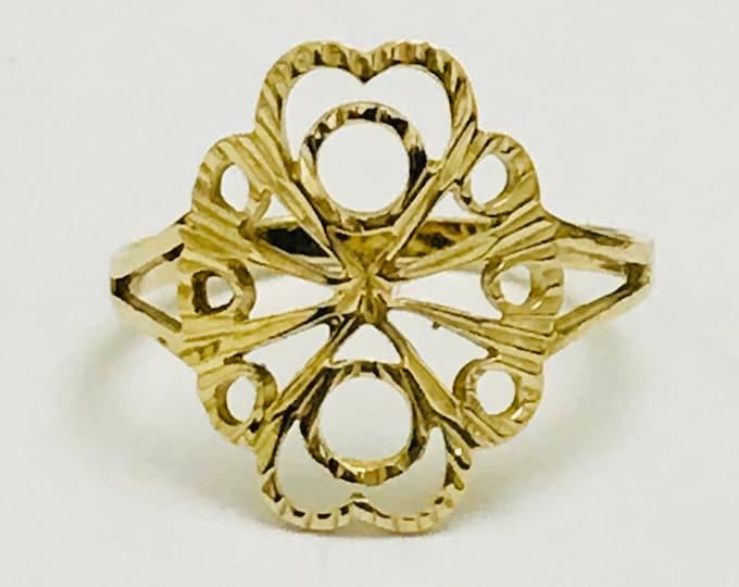 Lovely vintage 9ct yellow gold pierced design ring - Birmingham 1990 - size K / 5.25