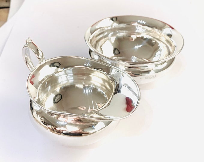 Superb matched pair of antique Edwardian sterling silver sugar and milk bowls - hallmarked London 1908 & 1911