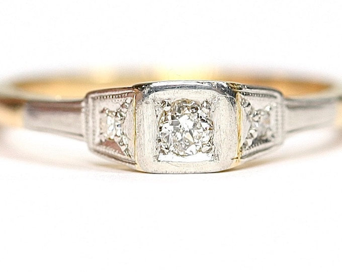 Superb antique 18ct gold Diamond ring / engagement ring - size L 1/2 or US 5 3/4