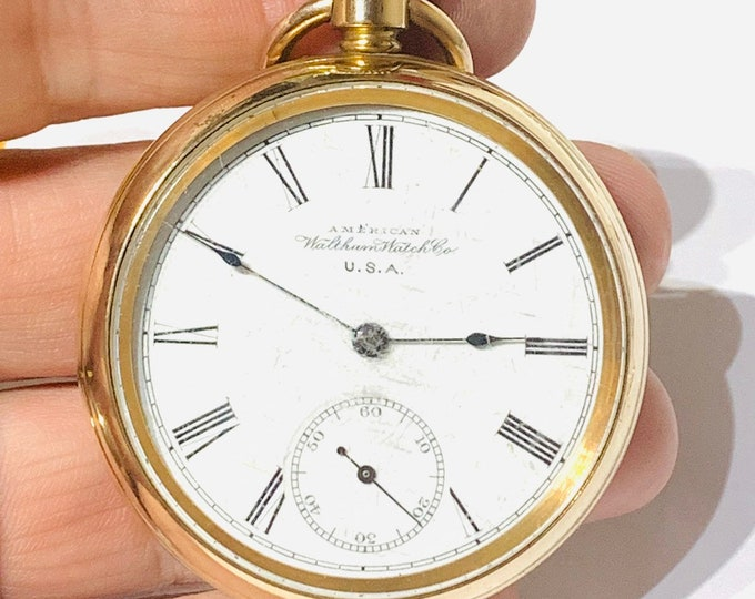 Superb antique Victorian 14k gold plated American Waltham Watch Co pocket watch - full working condition - dated 1893