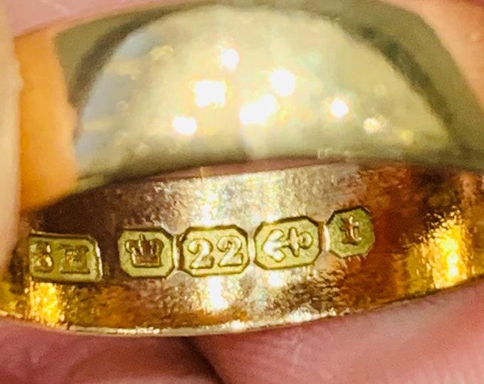 Superb antique Victorian 22ct gold wedding ring - hallmarked Birmingham 1893 - size Q or US 8