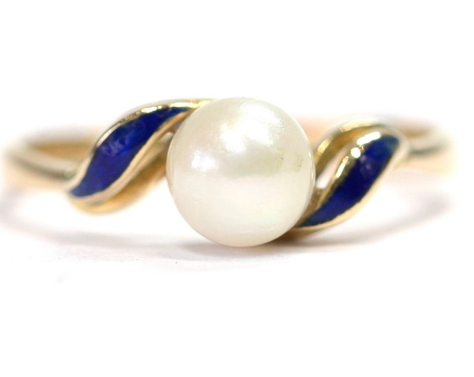 Stunning vintage 18ct gold cultured pearl and enamel ring - hallmarked London 1967 - size L or US 5 1/2