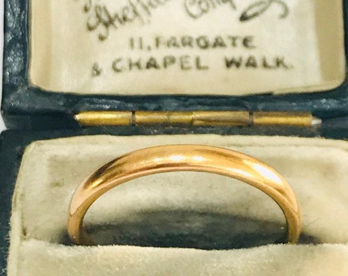Vintage 22ct gold wedding ring - hallmarked Birmingham 1955 - size N - 6 1/2