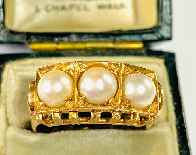Stunning vintage 18ct gold Pearl statement ring - size T - 9 1/2