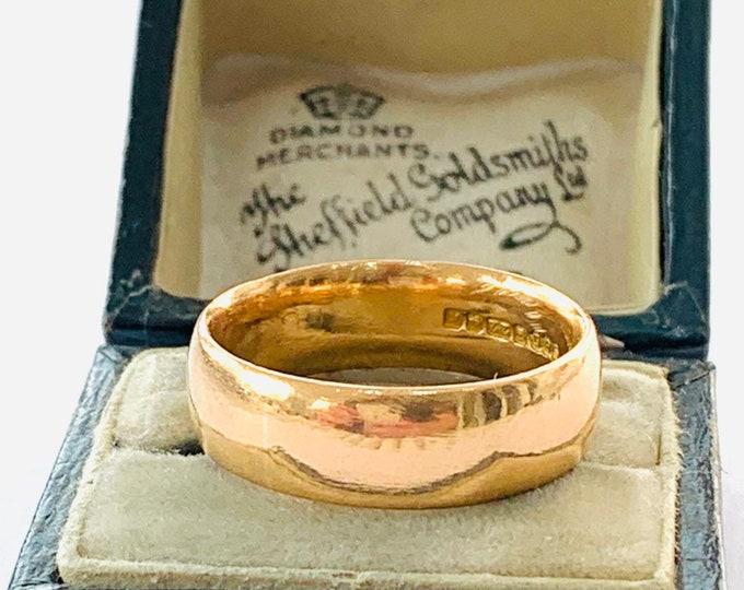 Superb heavy vintage 22ct gold wedding ring - Birmingham 1959 - size Q / 8