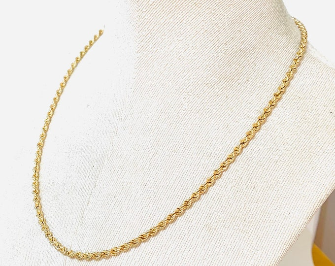 Vintage 9ct yellow gold 21 inch rope twist chain - fully hallmarked