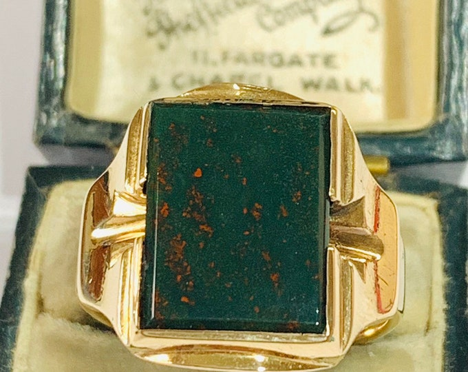 Fabulous vintage 10k gold Bloodstone signet ring - size U - 10 1/4