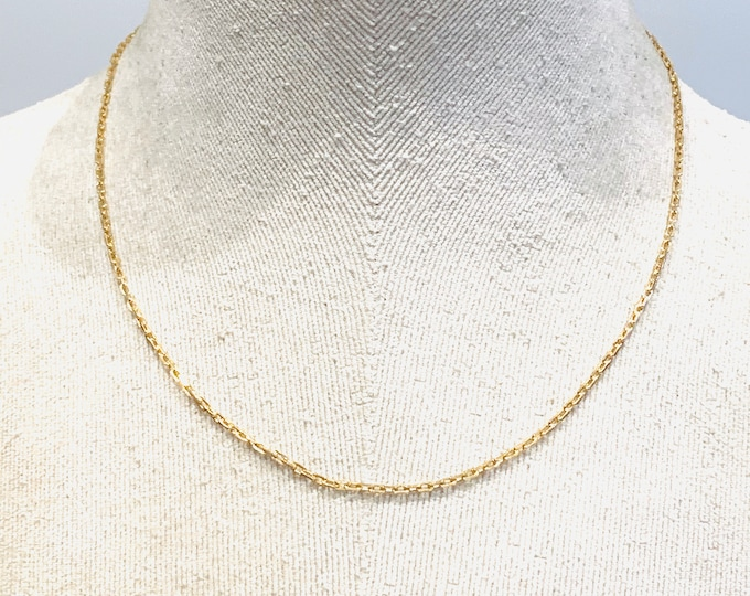 Vintage 9ct yellow gold 18 inch rectangular link chain - fully hallmarked