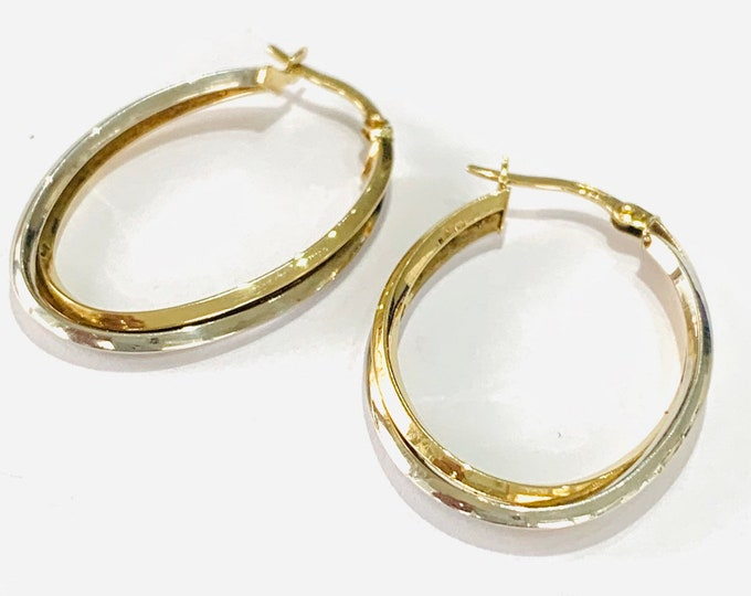 Stunning  vintage 9ct white and yellow gold earrings - fully hallmarked