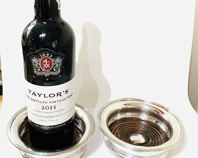Superb pair of large vintage silver plate wine / champagne / decanter coasters