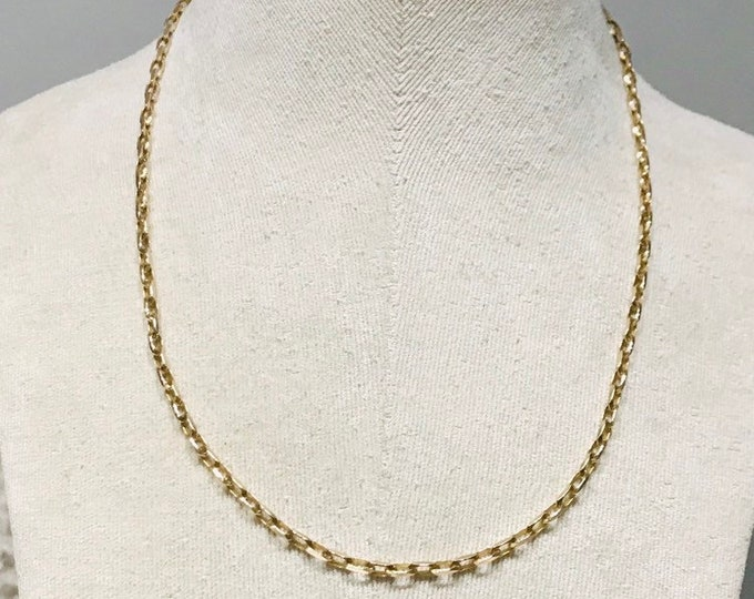 Superb heavy vintage 9ct yellow gold 21 1/2 inch chain - fully hallmarked
