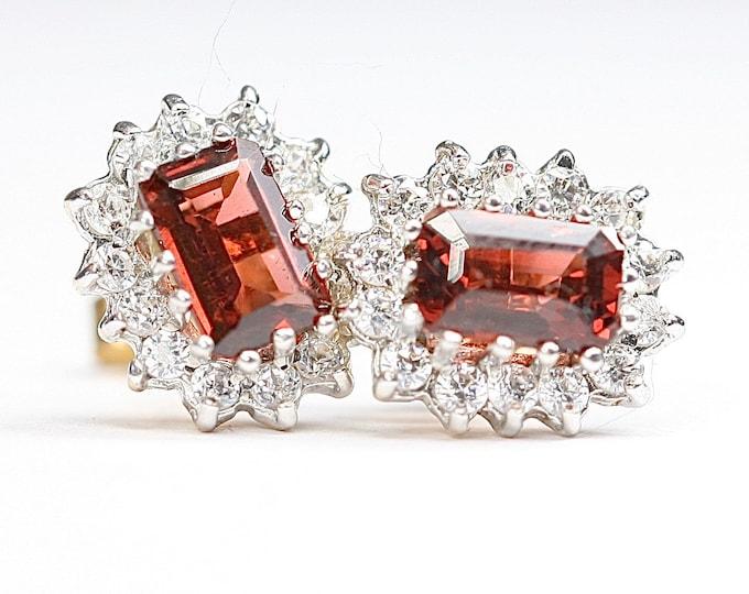 Sparkling vintage 9ct gold Garnet & Cubic Zirconia stud earrings